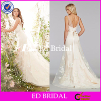 ST314 Made To Order Beautiful V Neck Sexy Low Back Appliqued With Ribbons White Colored Wedding Dresses Dubai