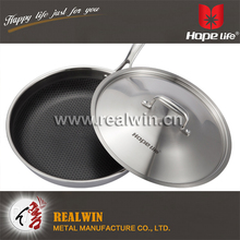 Tri-ply stainless steel non-stick frying pan with stainless steel Lid