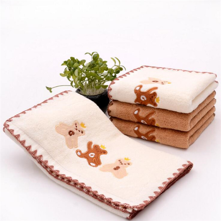 high quality factory sale customised embroidery 100 cotton animals hand towel face towel