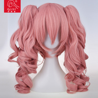 Pink color synthetic wig for doll