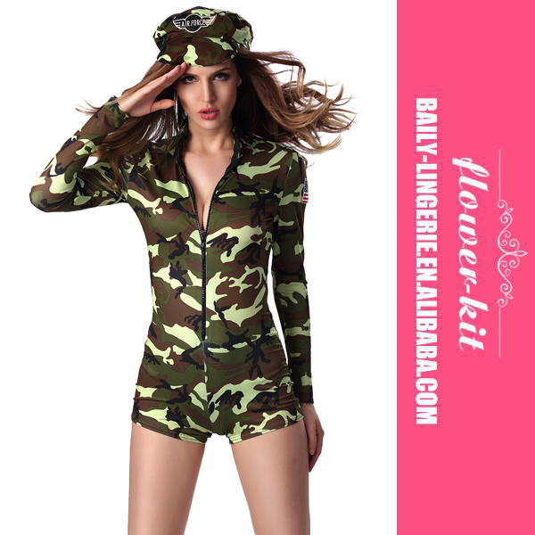 No MOQ Women Sexy Military Cosplay Costumes Hot Shorts Army Romper