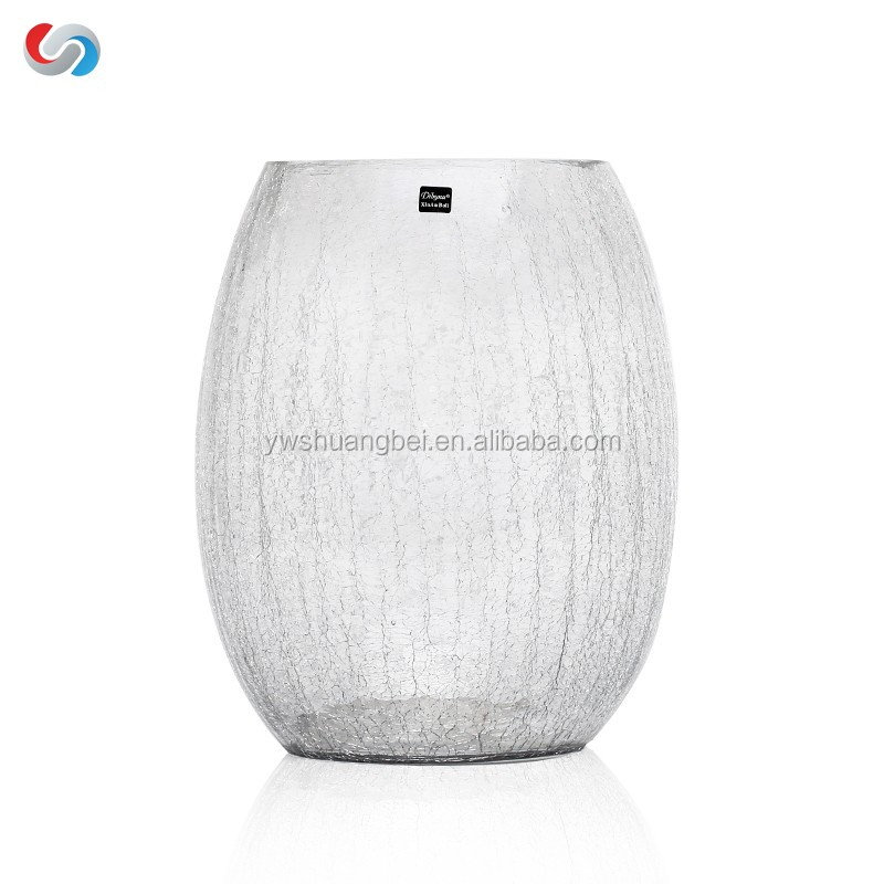 Wholesale Cheap Oval Shaped Crack Glass Vase For Wedding Centerpieces