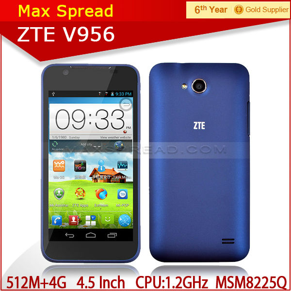 Hot selling ZTE V956 Quad Core 1.2GHz Android Phones Dual Sim Card low price brand mobile phone