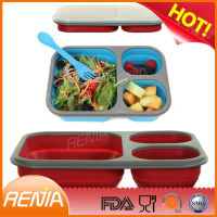 RENJIA kitchenware collapsible silicone lunch box,hot selling customized lunch box,industrial lunch box