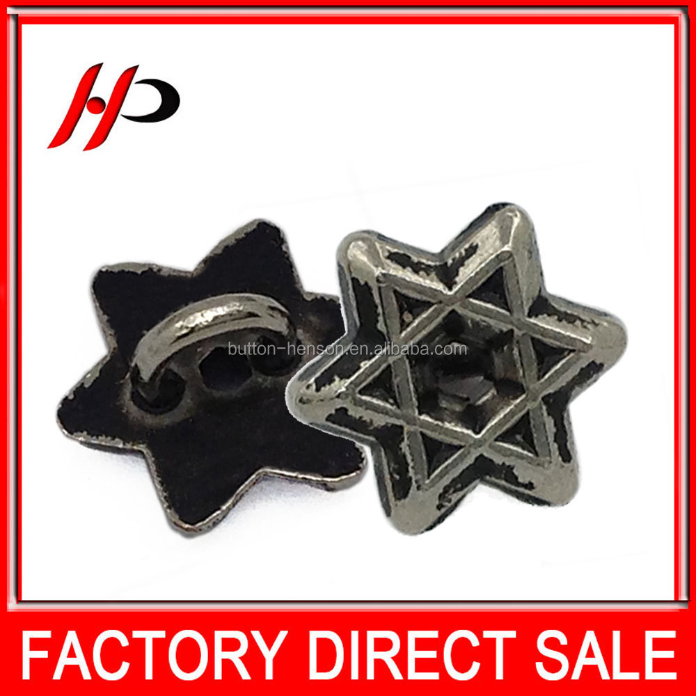 Factory wholesale nickel free 10.5 brass plating star shaped UK style vintage metal shank sewing button for shirts