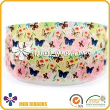 Customized Beautiful Printed Polyester Cotton Ribbon Webbing, Butterfly Packing Ribbon Wholesale