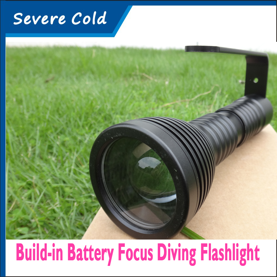 Bulit-in Battery High Quality Underwater Diving Torch 1CREE XML L2 LED Diving Flashlight Waterproof Focus Diving Flashlight