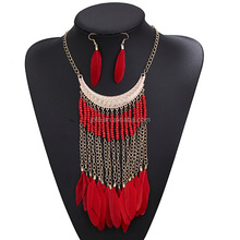 2017 New Arrival European Bohemia Plastic Beads Long Chain Feather Pendant Necklace Tassel Chain Feather Necklace