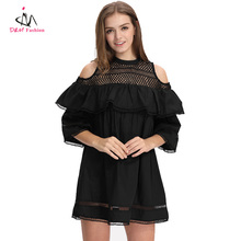 Chic Short Sleeve Off Shoulder Ladies Casual Dress Guangdong Clothing New Design 2017 O Neck Pleated Mesh Women Sexy Mini Dress