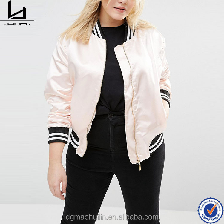 Women plus size satin fabric zip front varsity jacket