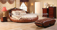 Contemporary Luxury Bedroom Furniture Set, Golden Genuine Leather Round Bed, Luxury Leather Round King Size Bed & Bench