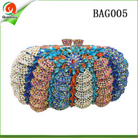 BAG005 Queency Pumpkin Pattern Full Crystal Ladies Clutch Purse Dinner Evening Bags factory discount price