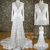 V-neck neckline lace applique sexy design beautiful tail wedding dress