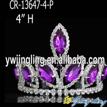 4 inch purple mini rhinestone pageant crowns