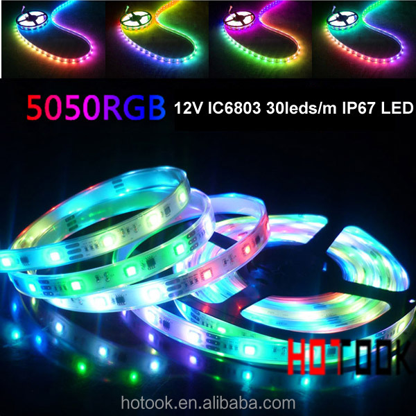 High quality DC12V SMD5050 magic led strip IC6803 30led/<strong>m</strong>