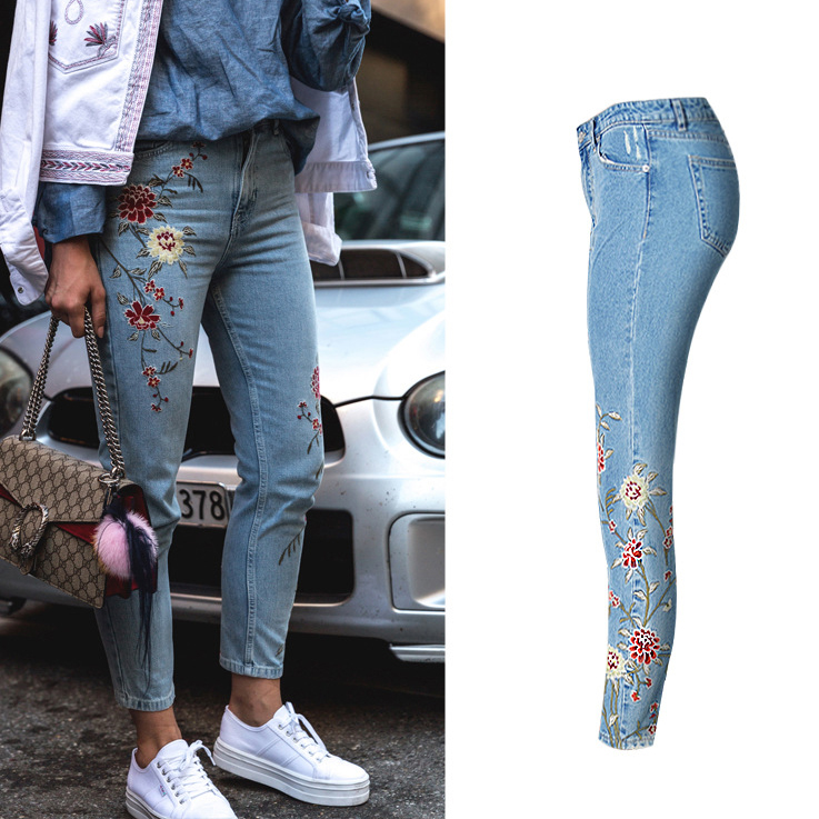 small fresh pastoral wind 3d embroidery high waist denim skinny feet women jeans