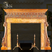 Yellow marble indoor english style fireplace slate fireplace mantel