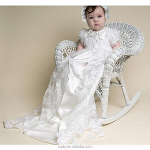 New design infant long satin gown dress, white lac beaptism coat, baby first birthday long christening dress