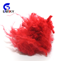 100% recycled Polyester Staple Fiber 1.4dx38mm RED color Made From Pet Bottle Flakes