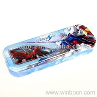 two layers cartoon tin metal students pencil case box