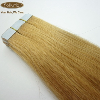 European Human Hair Extension PU Weft Silk Straight Skin Weft #6 Blonde Wholesale Price Bulk Hair