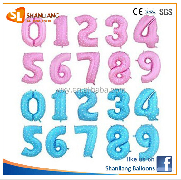 "40"" 90cm Helium Quality Giant Balloons,Pink Number Dot Foil Balloon"