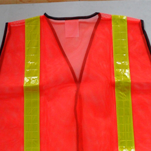 Mesh fabric 100% polyester fluorescent orange safety vest