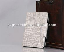 White crocodille leather cases for iPad Mini with stand function