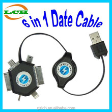 Fashional retractable 6 in 1 data cable USB charger cable for kinds of mobile