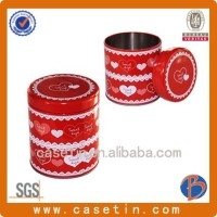 Small round cute metal gift tin box /large tin cans/metallic box for tea