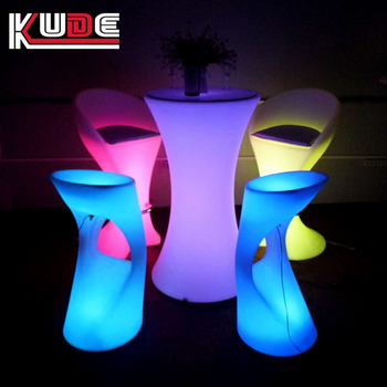 used in wedding round tables PE plastic LED cocktail bar table