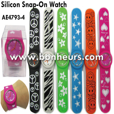 New Novelty Toy Silicon Snap Rubber Slap Wrist Band Watch