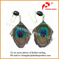 Natural Peacock Feather Ear Earrings with Crystal
