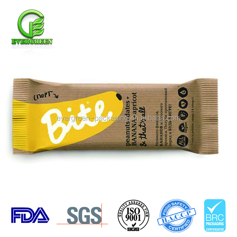 Food grade chocolate bar packaging bags /printed wrapper for candy bar plastic roll film