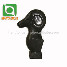 Black Stone Sculpture Abstract Carving Design