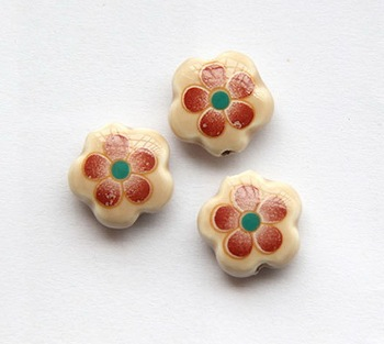 Hand Printed Flat Porcelain Ceramic Plum Flower Print Beads 15mm