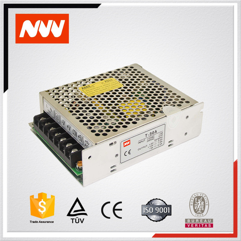 T-30 series 110V/220V to 5V 12V -24VDC Triple Outputs 30w switching power supply