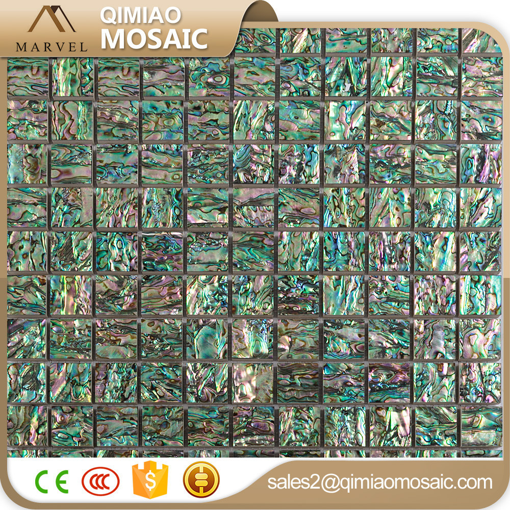 Dining Room TV Backsplash Mysterious Color Shell Tiles Sea Green Mosaic