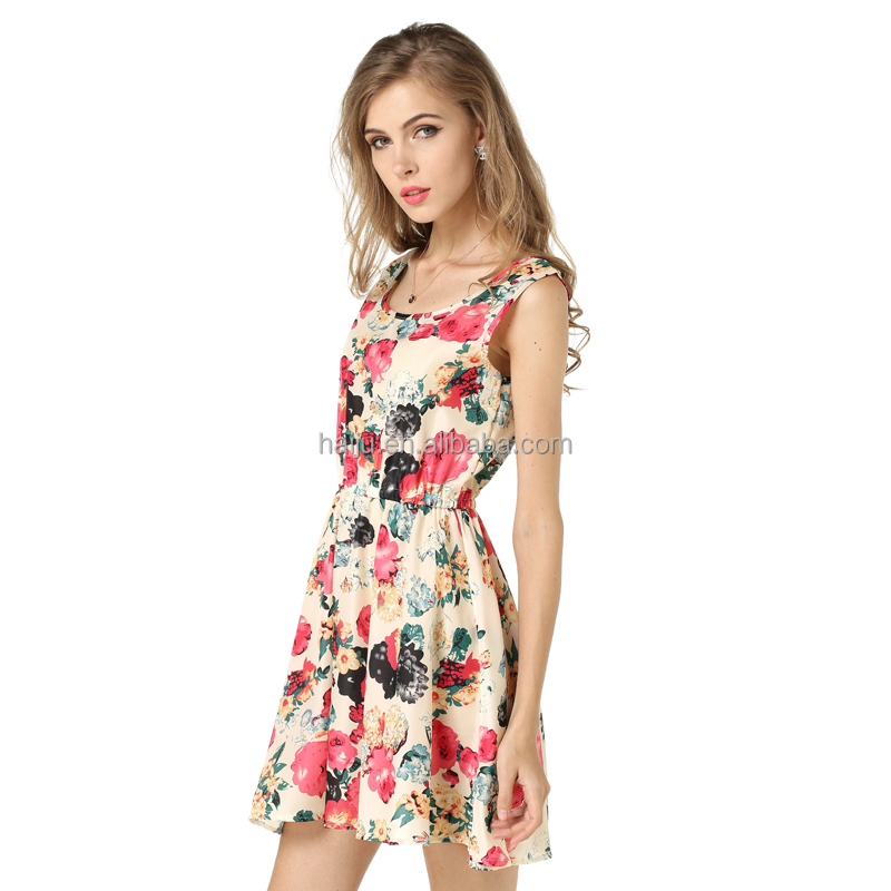 Wholesale chiffon sleeveless halter short mini sexy mature women dress