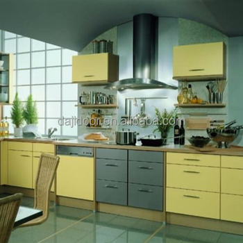MDF Yellow Lacquer Modular Kitchen Cabinet DJ-K216