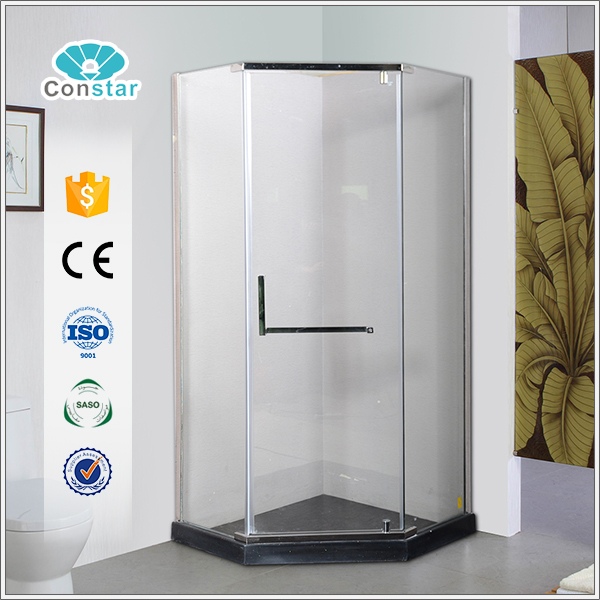 Korean fashionable 3 sided bathroom cheap shower screen with 8mm glass stainless steel hardwares