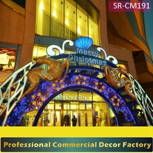 Custom commercial shopping mall front door Christmas decoration for hotel restaurant
