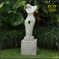 Contemporary hand Carving White Marble stone Abstraction Art Figure Statue For Sale