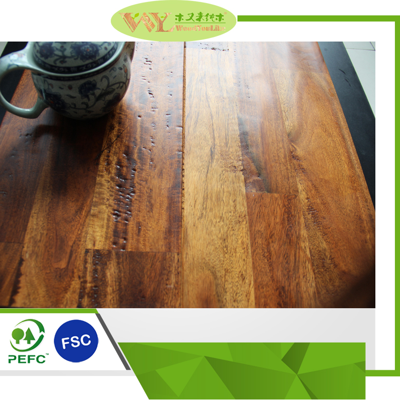 High Quality 3-Strip FJ Golden Teak Finished Acacia Floor Asian Walnut Hardwood Flooring