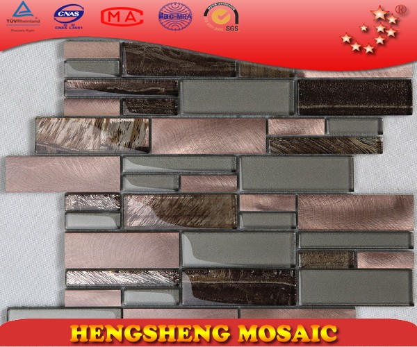 New designs unique glass mixed copper aluminium glass backsplash