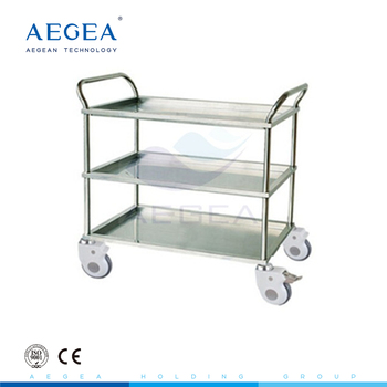 AG-SS022A stainless steel frame hospital medical cart with three layers