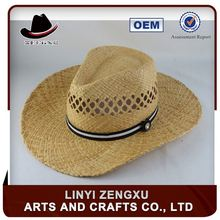 Straw knitted outdoor men high quality green straw cowboy hats