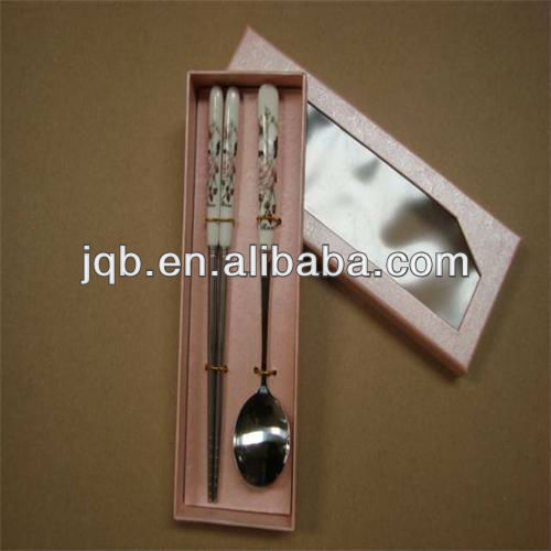 porcelain handle Stainless steel chopsticks and spoon with packing box made in china