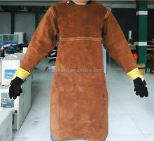 Anti-arc welder aprons with sleeves / cow split leather welding aprons / welding TIG welding special clothing