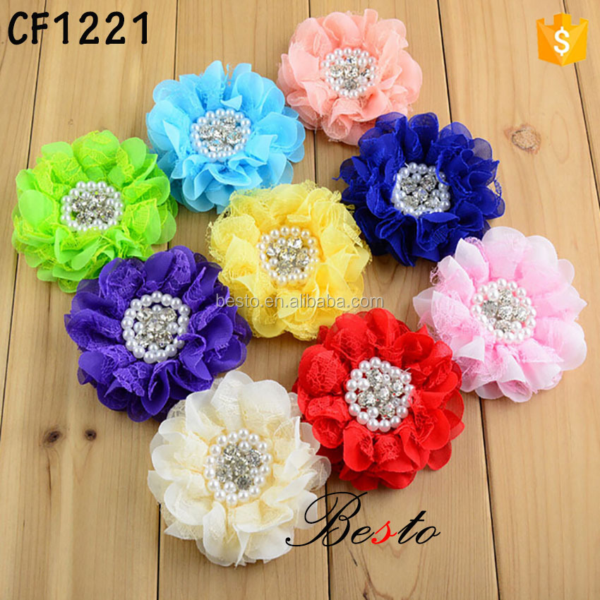New fashion fashion pearl rhinestone chiffon flower for hair accessories